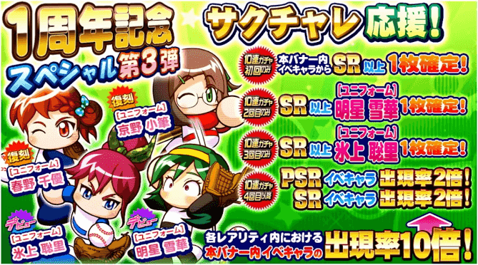 サクセススペシャル一周年記念スペシャル第三弾ガチャ