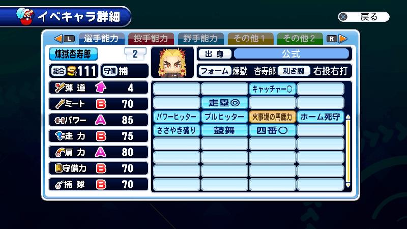 サクスペ煉獄杏寿郎のパワターと選手能力